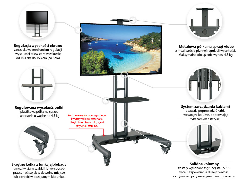 Specyfikacja mobilnego stojaka do TV model AVA1500-60-1P