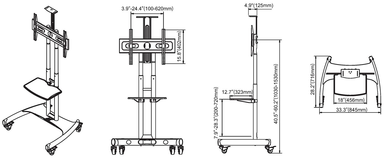 Rysunek techniczny - mobilny stojak do TV AVA1500-60-1P