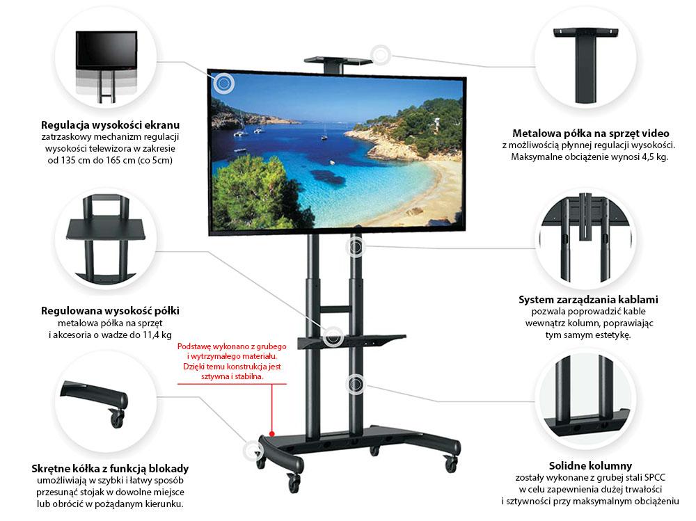 Specyfikacja mobilnego stojaka do TV model AVA1800-70-1P