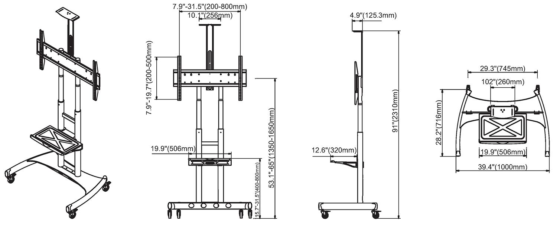 Rysunek techniczny - mobilny stojak do TV AVA1800-70-1P
