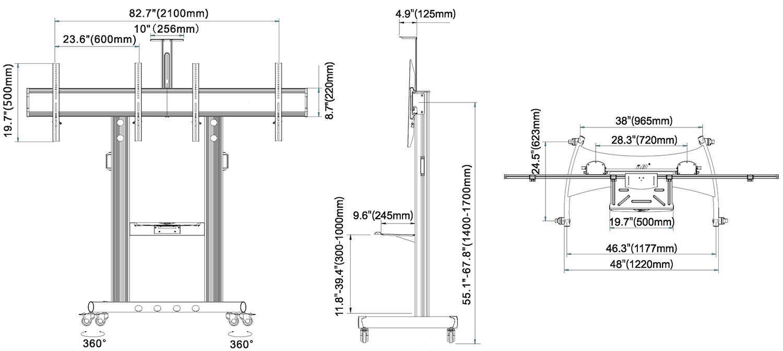 Rysunek techniczny - mobilny stojak na dwa TV AVT1800-60-2A