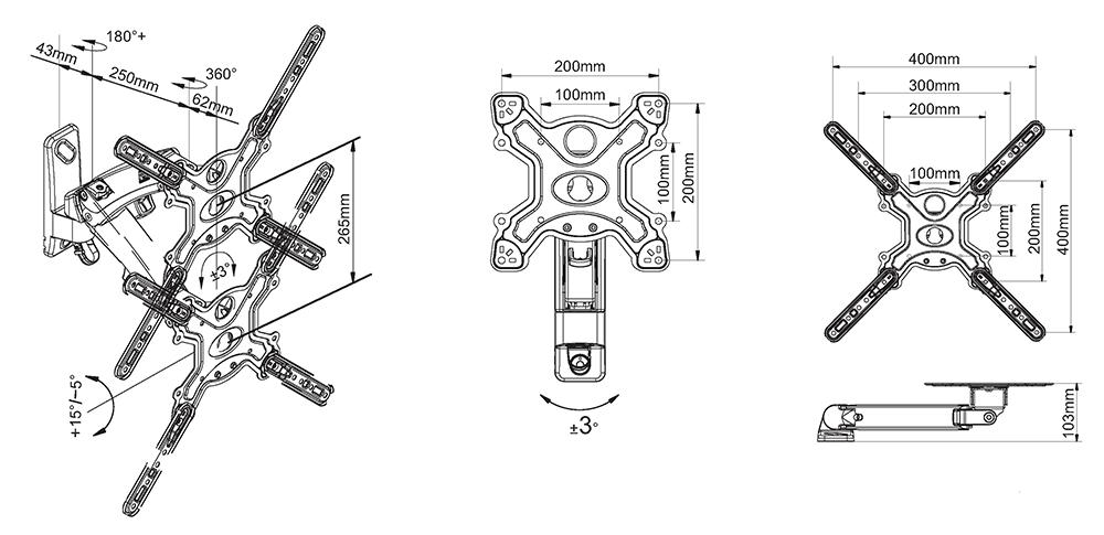 Rysunek techniczny uchwytu F400