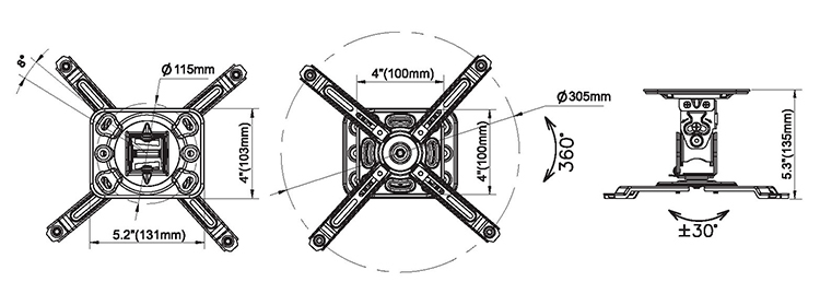Rysunek techniczny uchwytu do projektora - NBT717-M