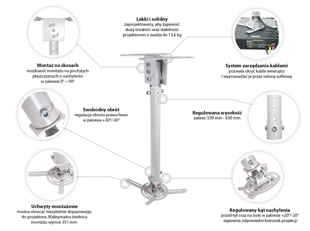 Specyfikacja uchwytu sufitowego do projektora - NBT718-2