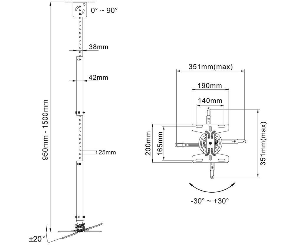 Rysunek techniczny uchwytu do projektora - NBT718-4