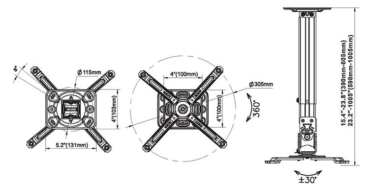 Rysunek techniczny uchwytu do projektora - NBT817-60