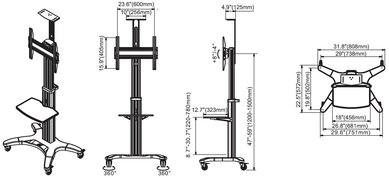 Rysunek techniczny - mobilny stojak do TV AVF1500-50-1P_technical