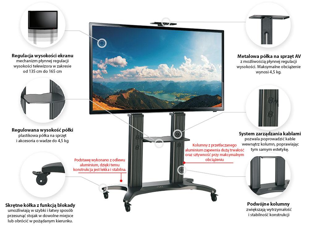 Specyfikacja mobilnego stojaka do TV model AVF1800-70-1P