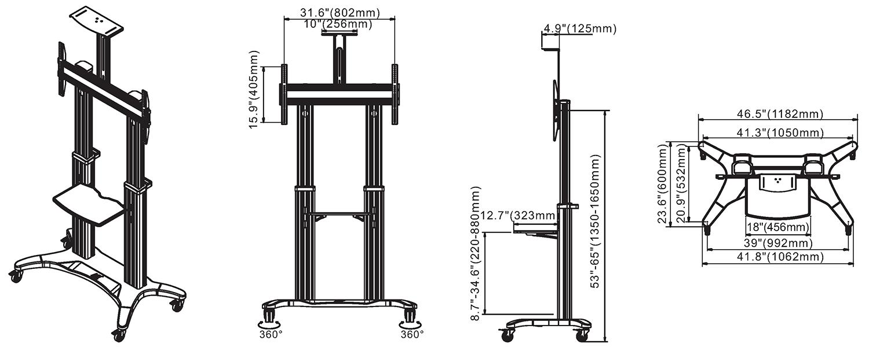 Rysunek techniczny - mobilny stojak do TV AVF1800-70-1P