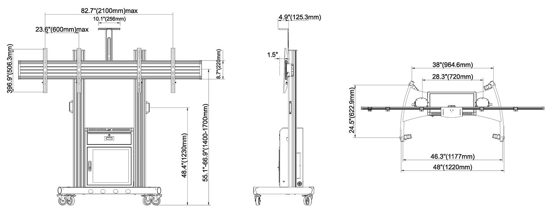 Rysunek techniczny - mobilny stojak na dwa TV AGT1800-60-2A