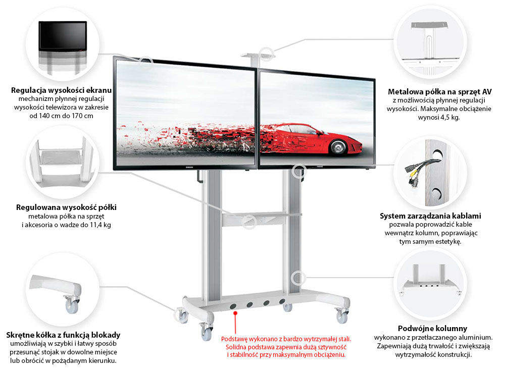 Specyfikacja mobilnego stojaka na dwa TV model AVT1800-60-2A
