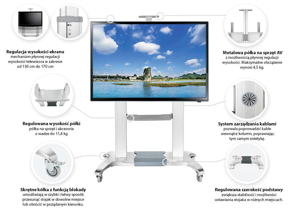 Specyfikacja mobilnego stojaka do TV model NB CF100