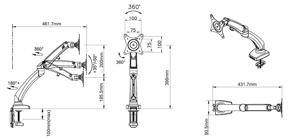 Rysunek techniczny uchwytu F100