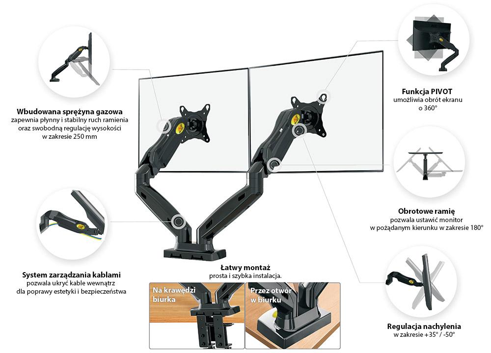 Specyfikacja uchwytu do monitora F160