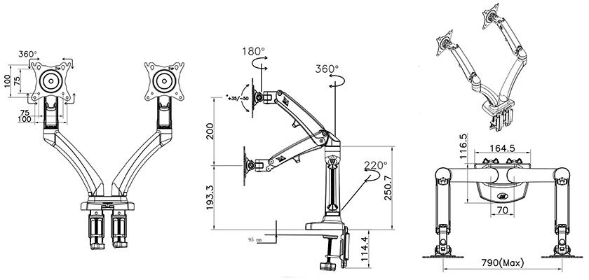 Rysunek techniczny uchwytu F180