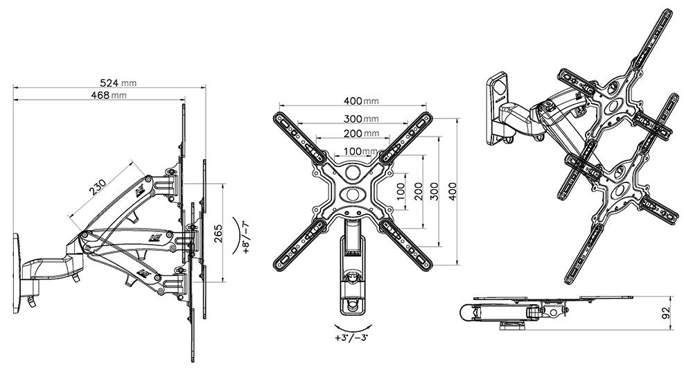 Rysunek techniczny uchwytu F500