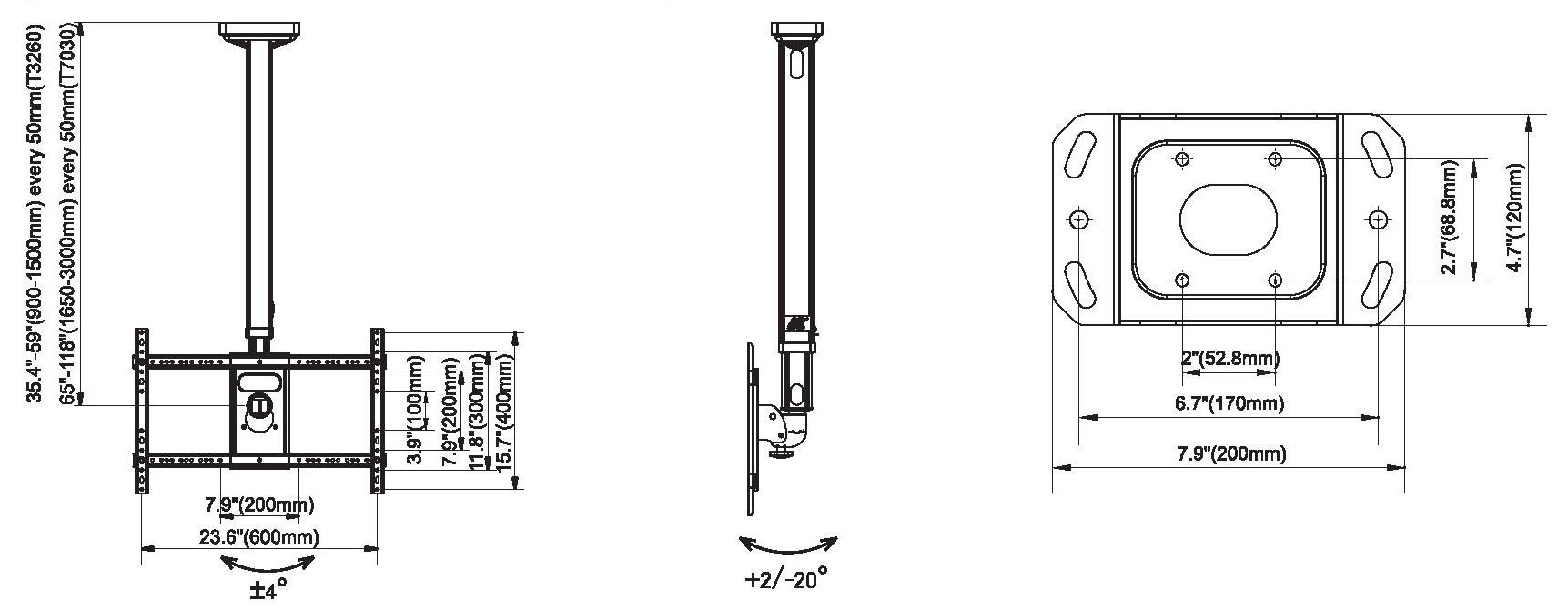 Rysunek techniczny uchwytu sufitowego do TV - NB T3260