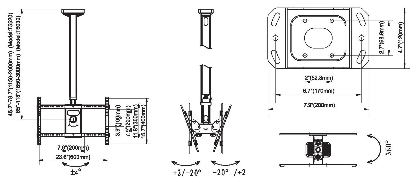 Rysunek techniczny uchwytu sufitowego do 2 x TV - NB T5520