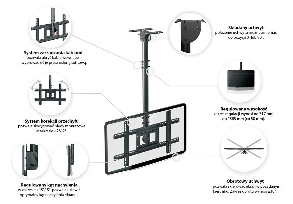 Specyfikacja uchwytu sufitowego do telewizora - NBT560-15