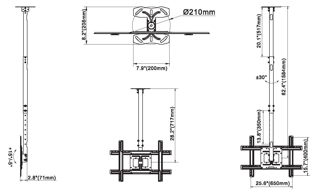 Rysunek techniczny uchwytu sufitowego do TV - NBT560-15