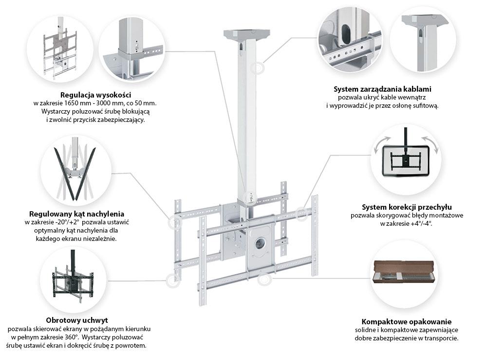 Specyfikacja uchwytu sufitowego do dwóch telewizorów - NB T6030