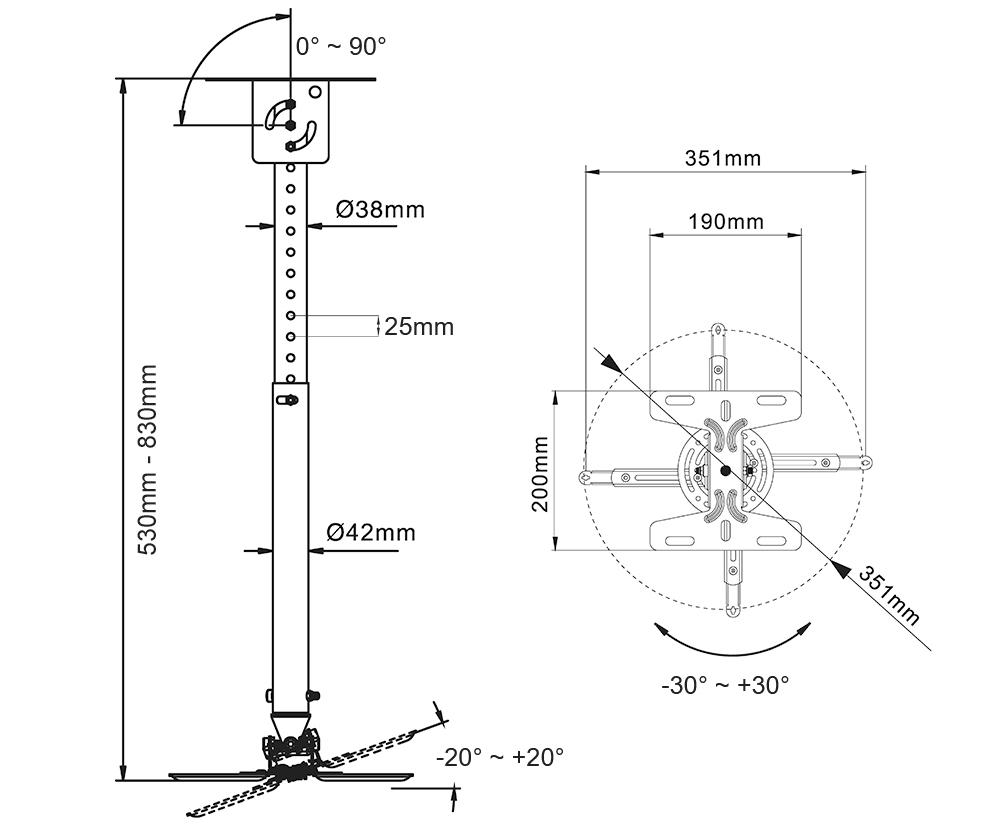 Rysunek techniczny uchwytu do projektora - NBT718-2