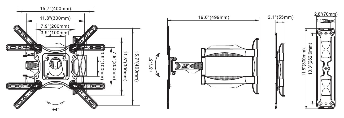 Rysunek techniczny uchwytu ściennego do TV NB DF400