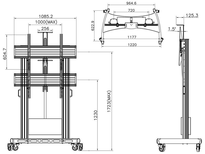Rysunek techniczny - mobilny stojak do TV CF100